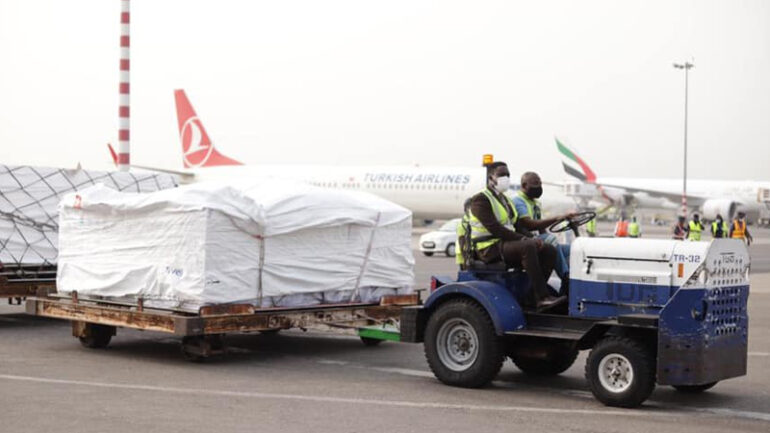 Ghana took delivery of 600,000 doses of the AstraZeneca COVID-19 vaccine made by the Serum Institute of India (Covishield).